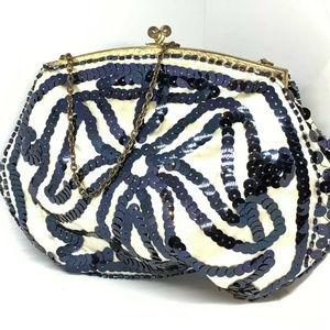 vintage French silk brass handmade France purse